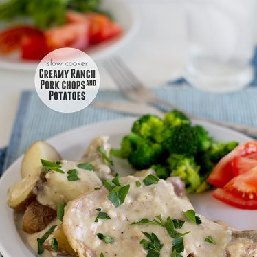 Slow Cooker Creamy Ranch Pork Chops and Potatoes | www.tasteandtellblog.com
