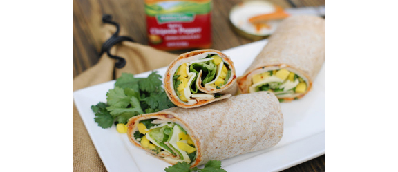 Spicy Chipotle Smoked Turkey-Mango Wrap from The Kitchen is My Playground