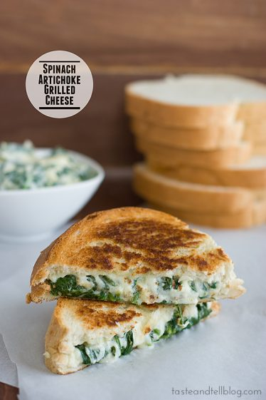 Spinach Artichoke Grilled Cheese | www.tasteandtellblog.com