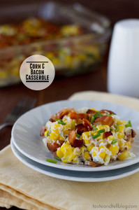 Corn and Bacon Casserole | www.tasteandtellblog.com