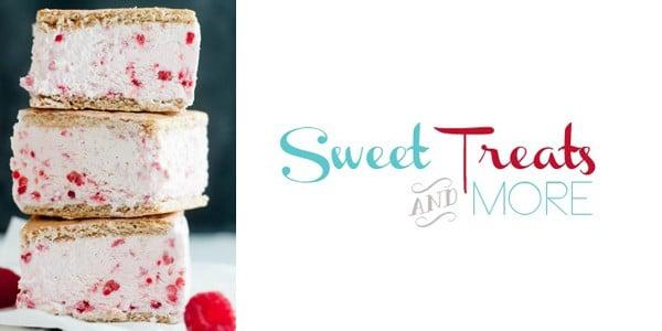 Raspberry Greek Yogurt Ice Cream Sandwiches by Sweet Treats and More