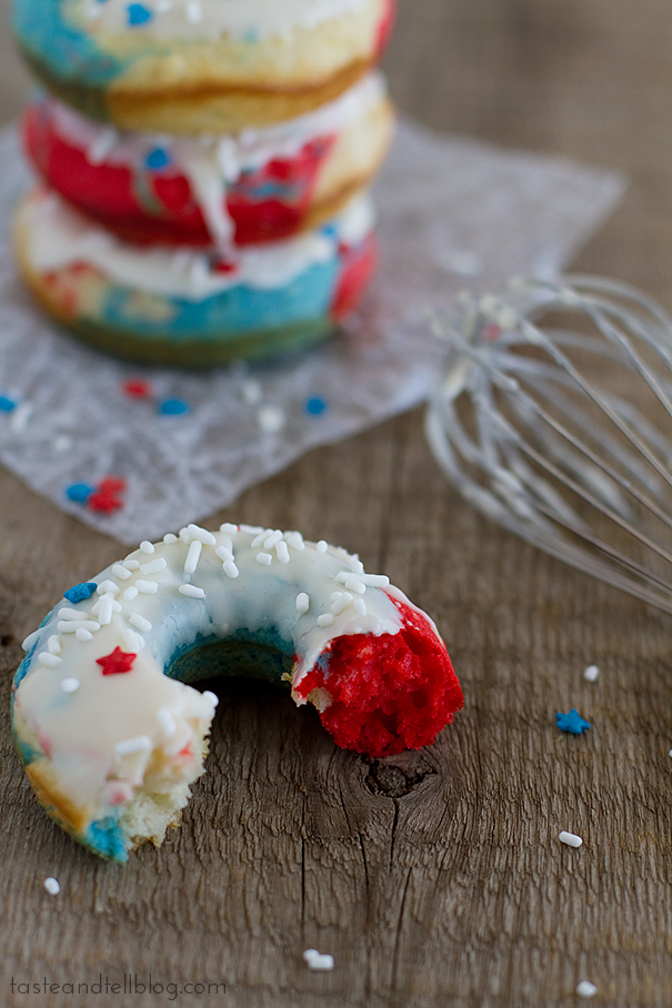 Red, White and Blue Baked Donuts | www.tasteandtellblog.com