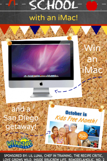 Back to School Giveaway - iMac Computer and San Diego Vacation!   www.tasteandtellblog.com