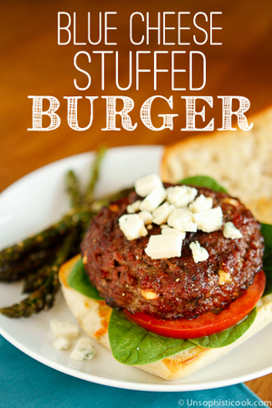 Blue Cheese Stuffed Burgers by Unsophisticook