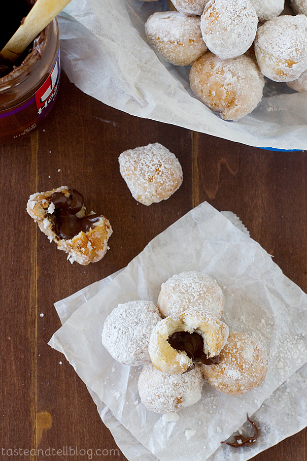 Chocolate Hazelnut Stuffed Donut Holes | www.tasteandtellblog.com