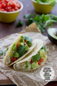 Creamy Cilantro Chile Chicken Tacos | www.tasteandtellblog.com