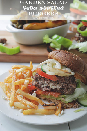 Garden Salad Feta Stuffed Burgers by Diethood