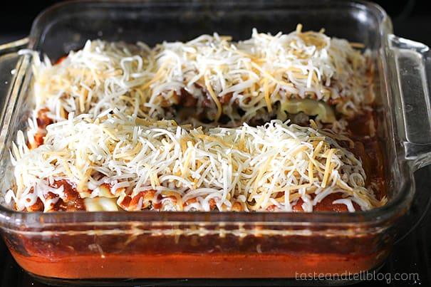 Mexican Lasagna Roll Ups | www.tasteandtellblog.com