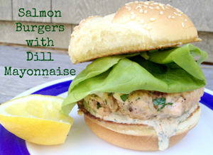 Salmon Burgers with Dill Mayonnaise by Cooking with Books