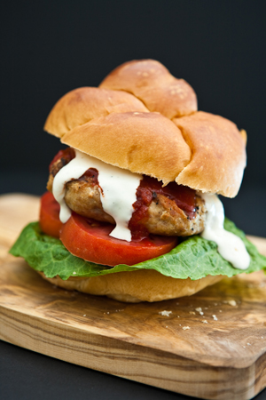 Sriracha Ranch Chicken Burgers by Eclectic Recipes