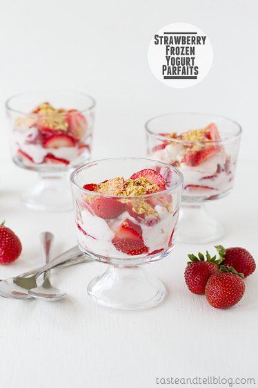 Strawberry Frozen Yogurt Parfaits | www.tasteandtellblog.com