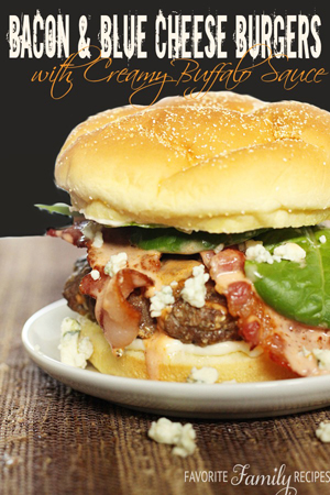 Bacon and Blue Cheese Burgers by Favorite Family Recipes