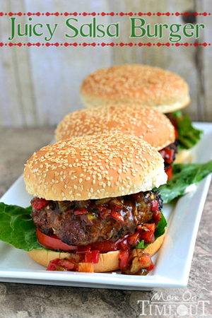 Juicy Salsa Burgers by Mom on Timeout
