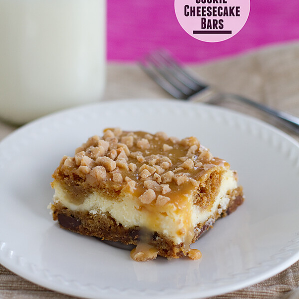 Caramel Cookie Cheesecake Bars | www.tasteandtellblog.com