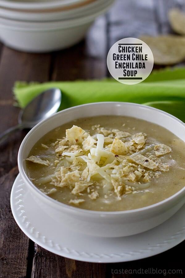 Chicken Green Chile Enchilada Soup | www.tasteandtellblog.com