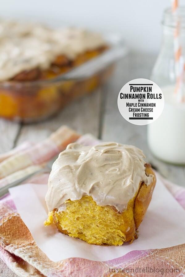 Pumpkin Cinnamon Rolls with Maple Cinnamon Cream Cheese Frosting   www.tasteandtellblog.com