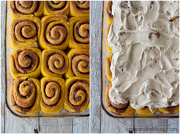 Pumpkin Cinnamon Rolls with Maple Cinnamon Cream Cheese Frosting | www ...