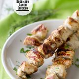 A simple marinade packs a ton of flavor in these super simple Rosemary Chicken Skewers that can be turned into a Chicken Flatbread Sandwich with Balsamic Ranch the next day! | www.tasteandtellblog.com