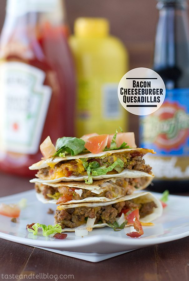 Bacon Cheeseburger Quesadillas {Fridays with Rachael Ray}
