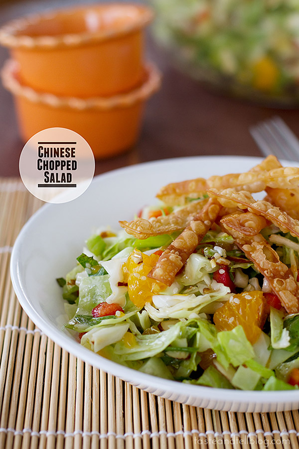 Chinese flavors come together in this Chinese Chopped Salad, filled with cabbage, mandarin oranges, fried wontons and a fresh dressing.
