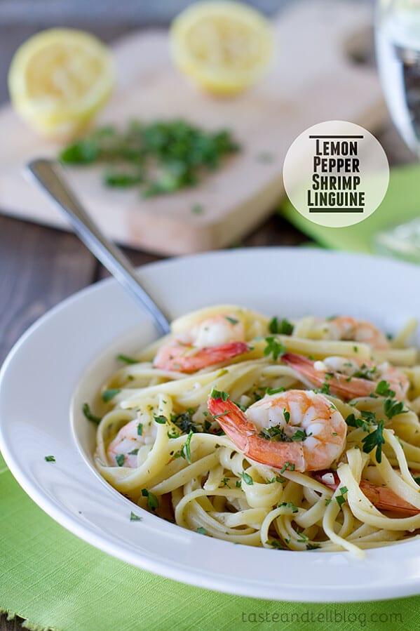 Lemon Pepper Shrimp Linguine | www.tasteandtellblog.com