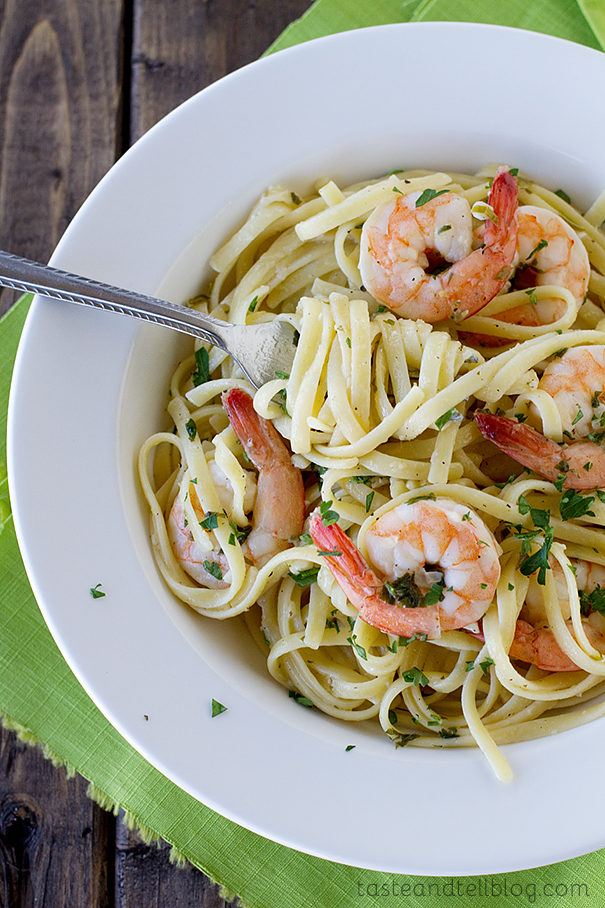 Lemon Pepper Shrimp Linguine | www.tasteandtellblog.com