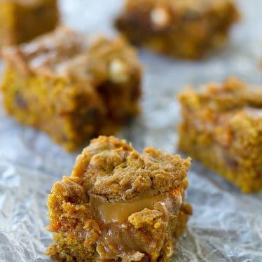 Loaded Caramel Pumpkin Blondies | www.tasteandtellblog.com