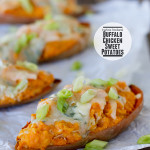 Twice Baked Buffalo Chicken Sweet Potatoes