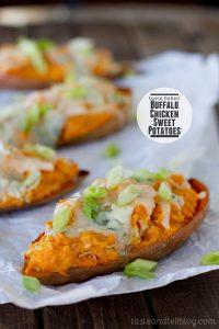 Twice Baked Buffalo Chicken Sweet Potatoes | Taste and Tell