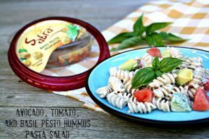 Avocado, Tomato and Basil Pesto Hummus Pasta Salad from Cooking with Books