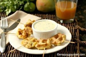 Caribbean Shrimp Stuffed Waffle Pops & Mango Cilantro Dip by Snappy Gourmet