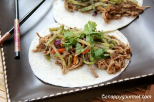 General Tso's Slow Cooked Pork Tacos with Orange Broccoli Slaw by Snappy Gourmet