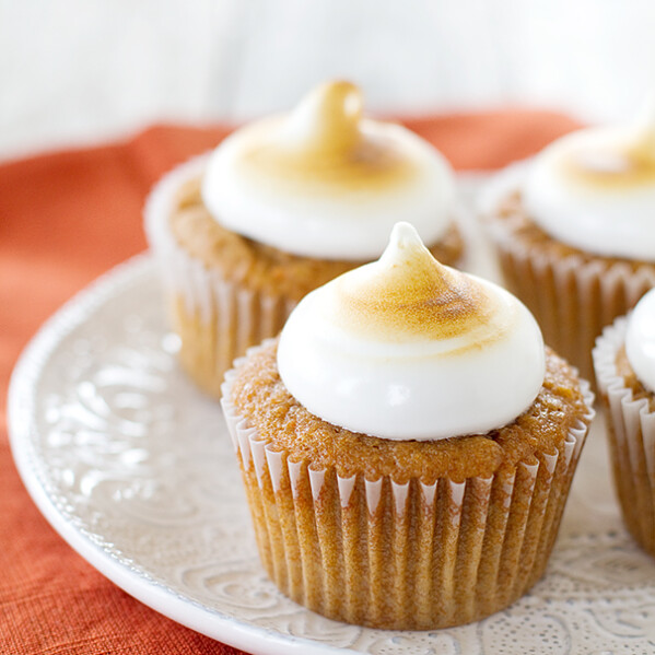 Sweet Potato Cupcakes with Toasted Marshmallow Frosting from www.tasteandtellblog.com