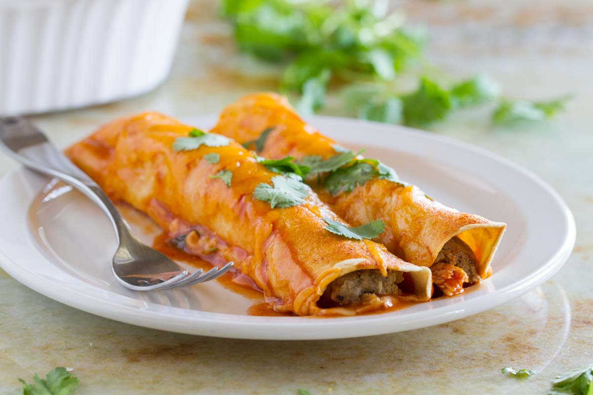 Plate with Thanksgiving Leftover Enchiladas