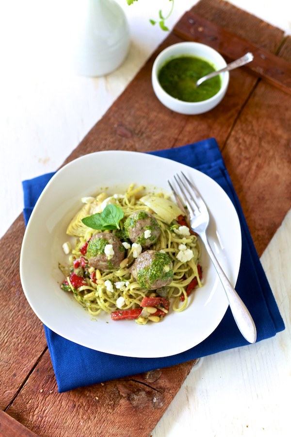 Lamb Meatballs and Mint Pesto Linguini from The Noshery