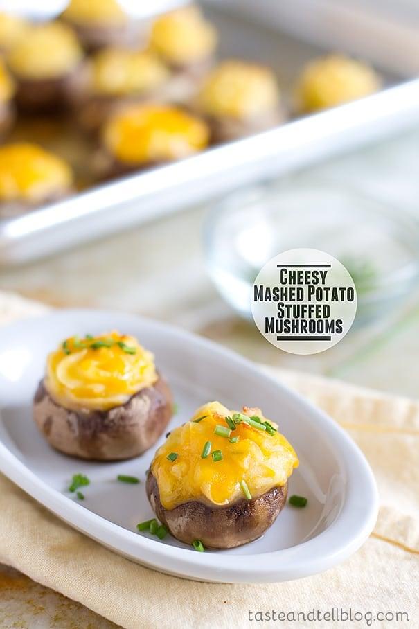Cheesy Mashed Potato Stuffed Mushrooms from www.tasteandtellblog.com
