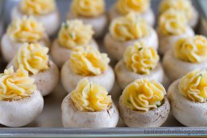Cheesy Mashed Potato Stuffed Mushrooms - step 4 - from www.tasteandtellblog.com