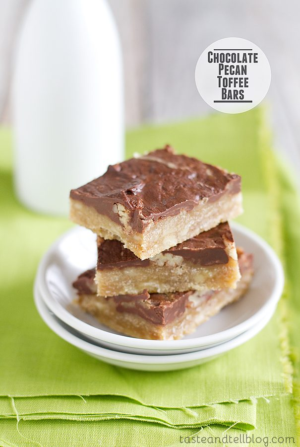 Chocolate Pecan Toffee Bars from www.tasteandtellblog.com