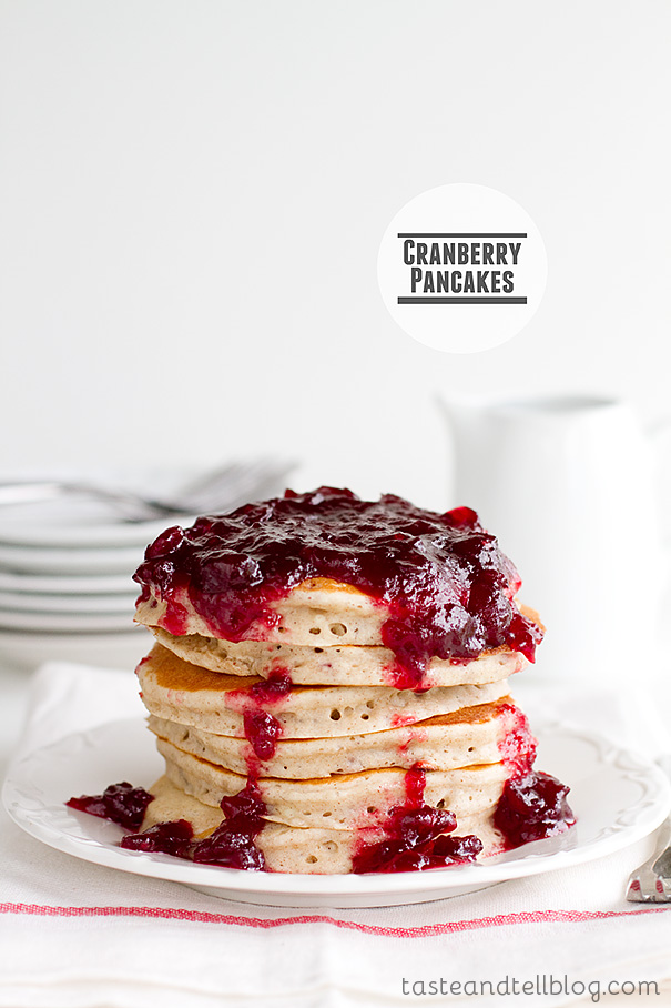 Cranberry Pancakes from www.tasteandtellblog.com