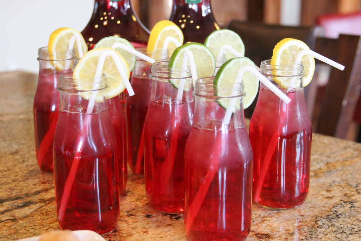 cranberry drinks with citrus slices