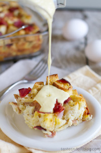 Eggs Benedict Strata on www.tasteandtellblog.com