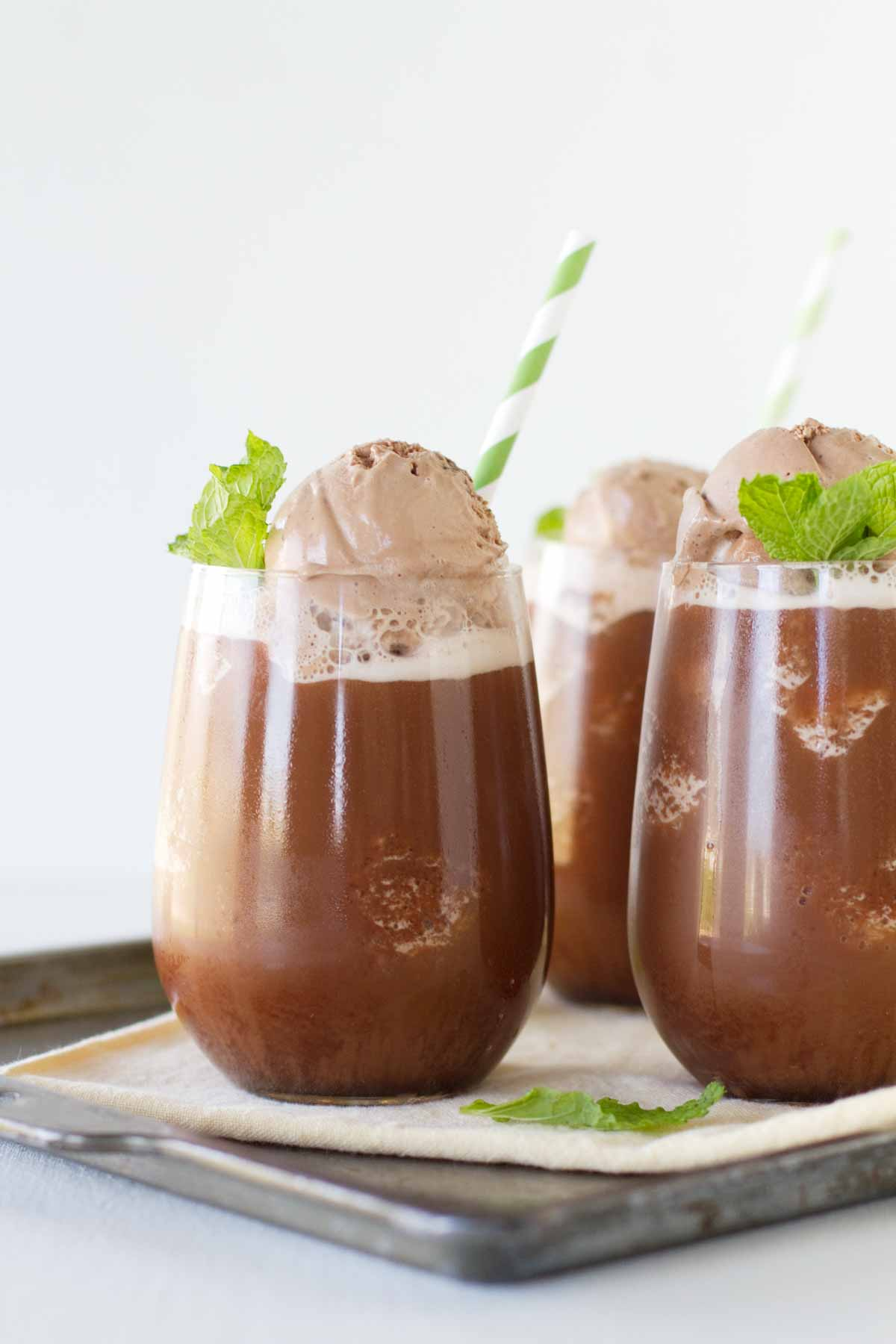 Iced Chocolate drink topped with gelato