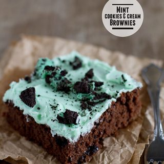 Mint Cookies and Cream Brownies from www.tasteandtellblog.com