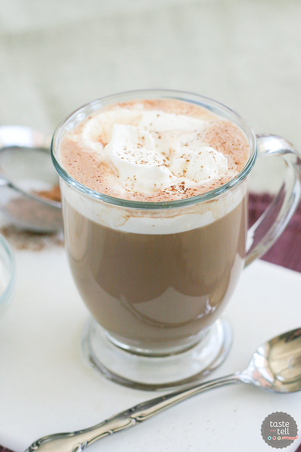 Hot chocolate taken to a whole new level! This Salted Caramel Hot Chocolate has hot chocolate that is combined with dulce de leche and a hint of salt to make a decadent treat that will warm you up.