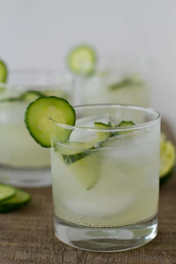 Limeade is infused with cucumber and mint and combined with sparkling water for These Sparkling Cucumber Limeades!