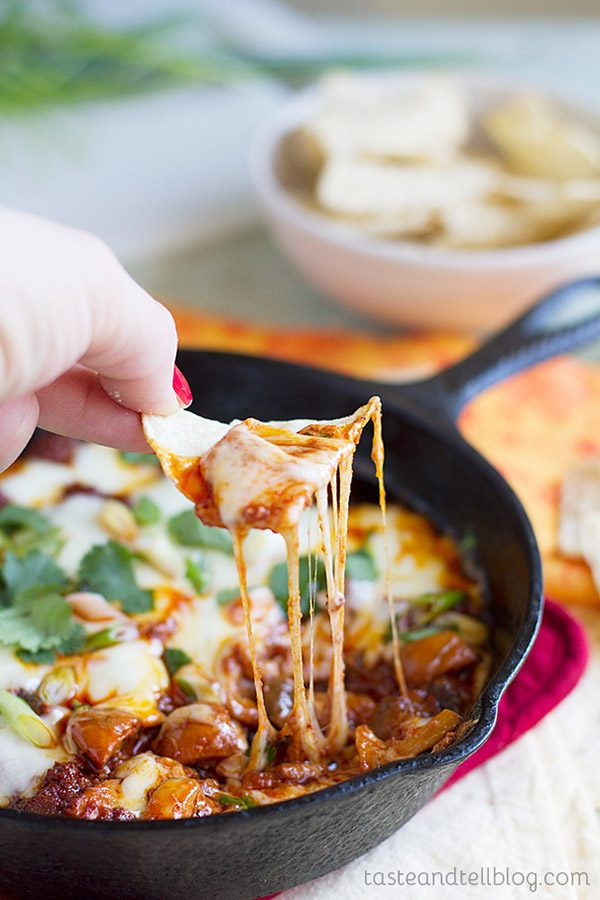 Chorizo and mushrooms are topped with melted cheese in this Chorizo Mushroom Queso Dip Recipe. Serve with tortilla chips for a gooey and spicy appetizer.