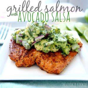 Grilled Salmon with Avocado Salsa from The Cookie Rookie