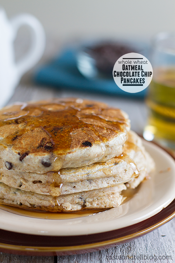 Whole Wheat Oatmeal Chocolate Chip Pancakes Taste And Tell