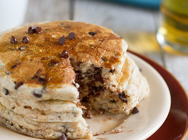 Whole Wheat Oatmeal Chocolate Chip Pancakes on Taste and Tell