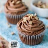 Hazelnut Brownie Cupcakes with Hazelnut Buttercream on Taste and Tell